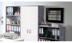 Büro Office Compact Komplettset Büroprogramm in Betonoptik und weiß 5-teilig
