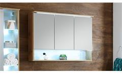 Spiegelschrank Best Badmöbel Badezimmer Schrank Wildeiche inkl. LED-Beleuchtung
