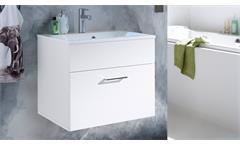 Badezimmer Splashi in weiß Hochglanz inkl. Waschbecken und LED 2-teilig 60 cm