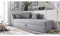 Polsterliege BONNY in Stoff grau mit Bettkasten und Kissen 220x101 cm