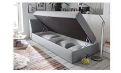 Polsterliege Bonny in Stoff grau Federkern mit Bettkasten und Kissen 220x101 cm
