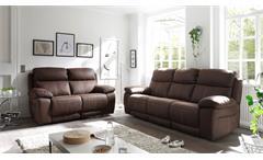Sofa Verona 3-Sitzer Couch in Stoff dunkelbraun inkl. Nosagunterfederung 230 cm