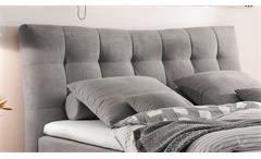 Boxspringbett Malibus Bett in Stoff grau 7-Zonen-TTK inkl. Topper 180x200 cm