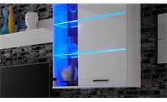 Wohnwand 2 Millo Anbauwand Wohnkombi Front MDF weiß Glanz inkl. LED-Beleuchtung