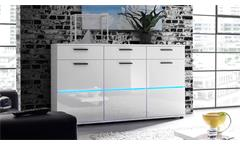 Sideboard Millo Anrichte Kommode Front in MDF weiß Glanz inkl. LED-Beleuchtung