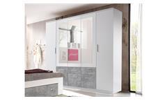 Kleiderschrank Box 5 Drehtürenschrank Schrank 5-türig weiß Beton Spiegel 212 cm