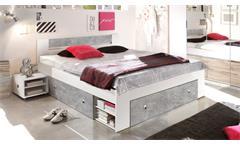 Bettanlage Stefan Bett mit 2 Nachttischen weiß Betonoptik 3 Schubkästen 180x200