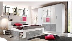 Schlafzimmer Stefan Box 5 Bett Schrank Nachttisch weiß Beton 4-teilig 180x200 cm