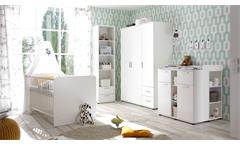 Kleiderschrank Bibo Drehtürenschrank Schrank 3-türig in weiß 115 cm Babyzimmer
