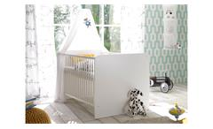 Babybett Bibo Bett Gitterbett Kinderbett weiß Schlupfsprossen 70x140 Babyzimmer