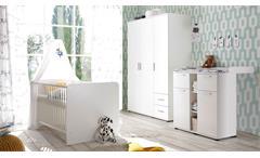 Babyzimmer weiß Bibo Komplett Set 3-türiger Schrank Bett Kommode