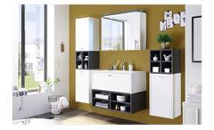 Badezimmer Fresh Badmöbel Komplettset in weiß matt und grau inkl. Becken und LED
