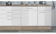 Küchenblock Laurel Küche Küchenzeile Sonoma Eiche und weiß Hochglanz 310x211 cm