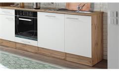 Küchenblock Madeira 310 Küche Küchenzeile Einbauküche Wildeiche weiß 310x205 cm
