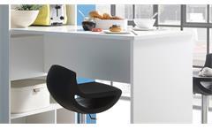 Küchentheke Stand Theke inkl. Regal Bartisch Tresentisch Bar weiß mit 8 Fächern