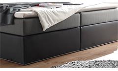 Boxspringbett Cardiff Doppelbett schwarz grau mit Federkern inkl. LED 180x200 cm