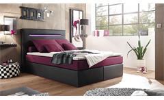 Boxspringbett CARDIFF schwarz purpur mit Federkern inkl. LED 140x200