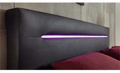 Boxspringbett Cardiff Doppelbett schwarz purpur mit Federkern inkl. LED 140x200