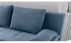 Schlafsofa Luigi Dauerschläfer Sofa Stoff denim blau Federkern mit Topper 208 cm