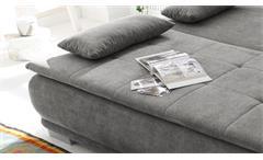 Schlafsofa Luigi Dauerschläfer Sofa Stoff stone grau Federkern mit Topper 208 cm