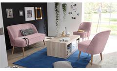 Polsterbank Pino Esszimmerbank Sitzbank Bank Stoff rosa mit Nosagfederung 122 cm