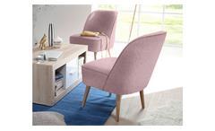Polsterstuhl Pino Esszimmerstuhl Sessel in Stoff rosa mit Nosagfederung 54 cm