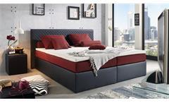 Polsterbett PERTH Bett schwarz rot Federkern inkl. Topper 180x200 cm