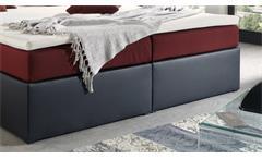Polsterbett Perth Bett Doppelbett schwarz rot Federkern inkl. Topper 180x200 cm