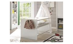 Babybett Paula Bett Kinderbett Gitterbett Babyzimmer in weiß 70x140 cm