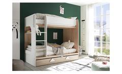 Etagenbett MAJA Bett Eiche Sonoma weiß inkl. Bettkasten 2x 90x200 cm