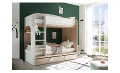 Etagenbett Maja Bett Hochbett Eiche Sonoma weiß inkl. Bettkasten 2x 90x200 cm