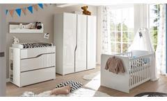 Babyzimmer 1 Marra Komplett Set 3-tlg MDF weiß Hochglanz Eiche Sonoma Trüffel