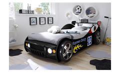 Autobett Energy MDF Kinderbett Jugendbett Bett schwarz lackiert inkl Beleuchtung