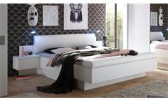 Bettanlage Bonn Doppelbett Bett mit 2 Nachtkommoden weiß gepolstert 180x200 cm