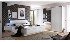 Schlafzimmer Bonn Bravo Komplett Set Schrank Bett in weiß mit Spiegel 4-teilig
