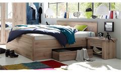 Bettanlage Luca Bett Doppelbett inkl. 2 Nachtkommoden Eiche San Remo 180x200 cm