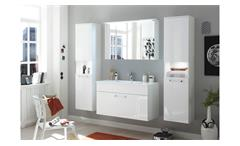 Badezimmer Set White Badmöbel Schrank Spiegel weiß Hochglanz Waschbecken und LED