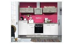 Küche Spicy Küchenzeile Küchenblock Einbauküche weiß und Beton grau 270x195 cm