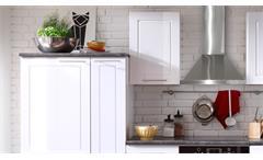 Küche Welcome Küchenzeile Küchenblock weiß Hochglanz und Matt mit Stone grau 300