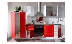 Küche Welcome Küchenzeile Küchenblock rot und weiß Hochglanz Matt Stone grau 300