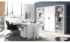 Büroset 8 Teile Fact Büromöbel Regal Schrank Rollcontainer Schreibtisch in weiß