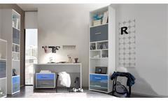 Büro Jugendzimmer 3-teilig weiß Schreibtisch Rollcontainer Regal Colori