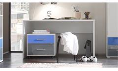 Jugendzimmer Colori 4-teilig weiß Glas blau grau Bett Schrank Schreibtisch Regal