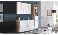 Badezimmer Set 3-tlg Miami Eiche Hochglanz weiß mit Becken