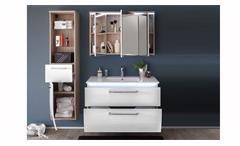 Badezimmer Set Miami 3-tlg Sonoma Eiche Hochglanz weiß Badmöbel mit Becken