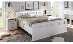 Bettanlage Schlafzimmer Emma Doppelbett zwei Nachtkommoden Kiefer weiß