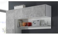 Küchenblock Turn Küche Einbauküche Küchenzeile Betonoptik und weiß mit E-Geräten