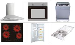 Küchenzeile Laurel Küche Einbauküche weiß Hochglanz Sonoma Eiche mit E-Geräten
