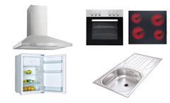 Küchenzeile Madeira Küche Einbauküche in Wildeiche und weiß Dekor mit E-Geräten
