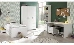 Jugendzimmerset Bibo Komplett Set weiß 5-teilig mit Bettgestell Schreibtisch Regal
